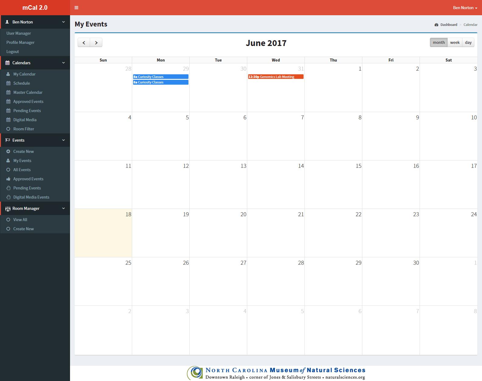 mCal Screenshot - Main Calendar View