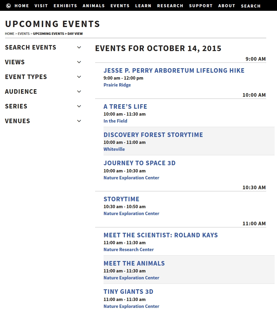 NCMNS Website Screenshot - Events Calendar