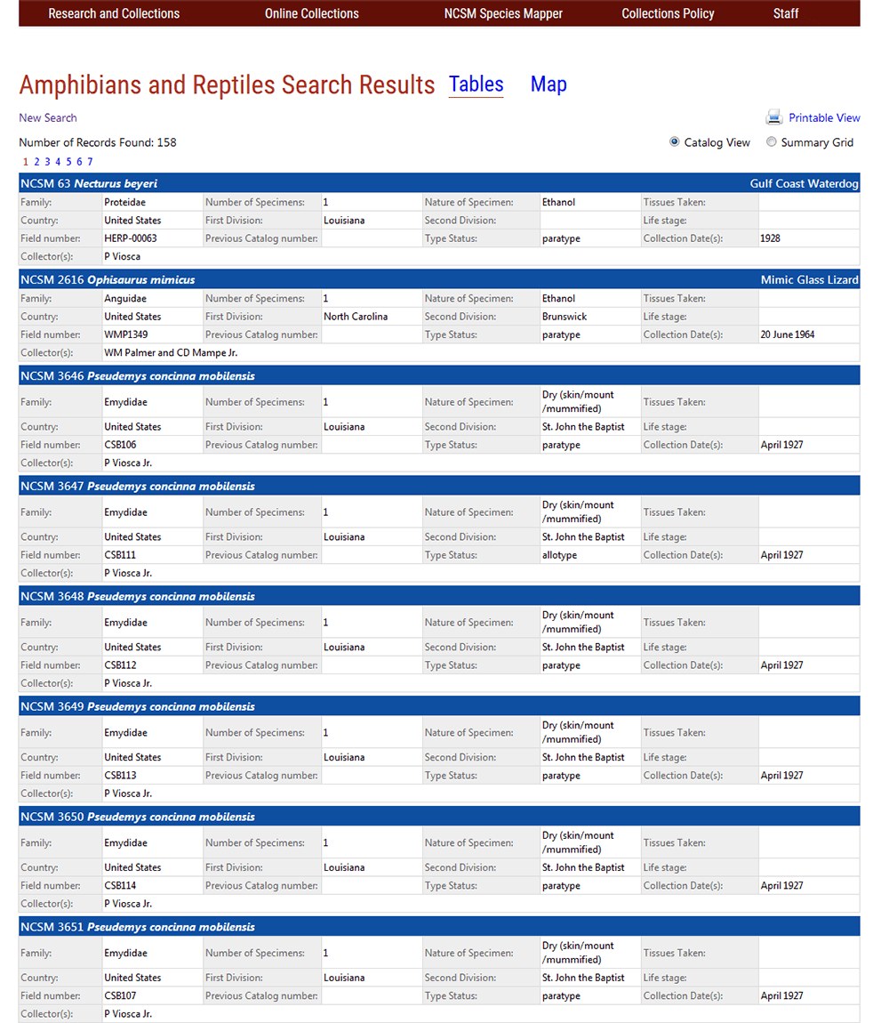 NCSM Online Collections Screenshot - Catalog View