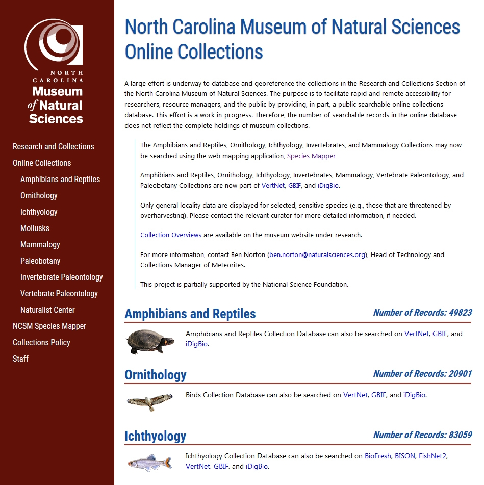 NCSM Online Collections Homepage