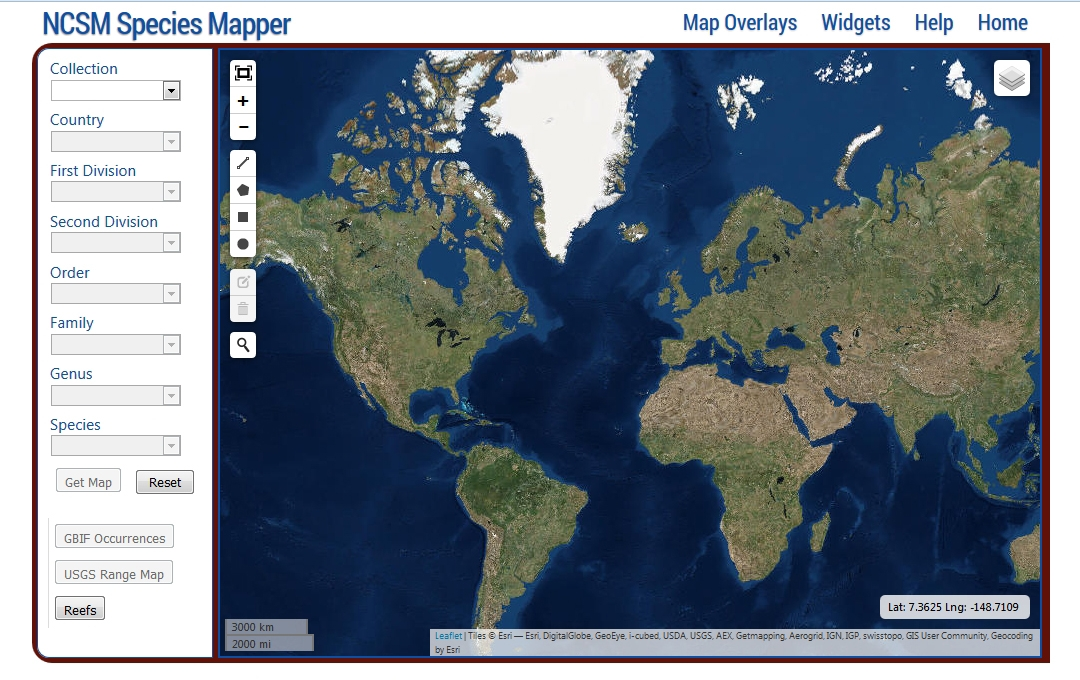 NCSM Species Mapper Default Screenshot