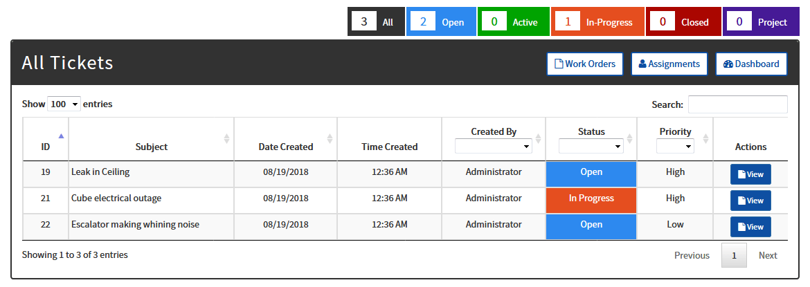 All Ticket Datatable View
