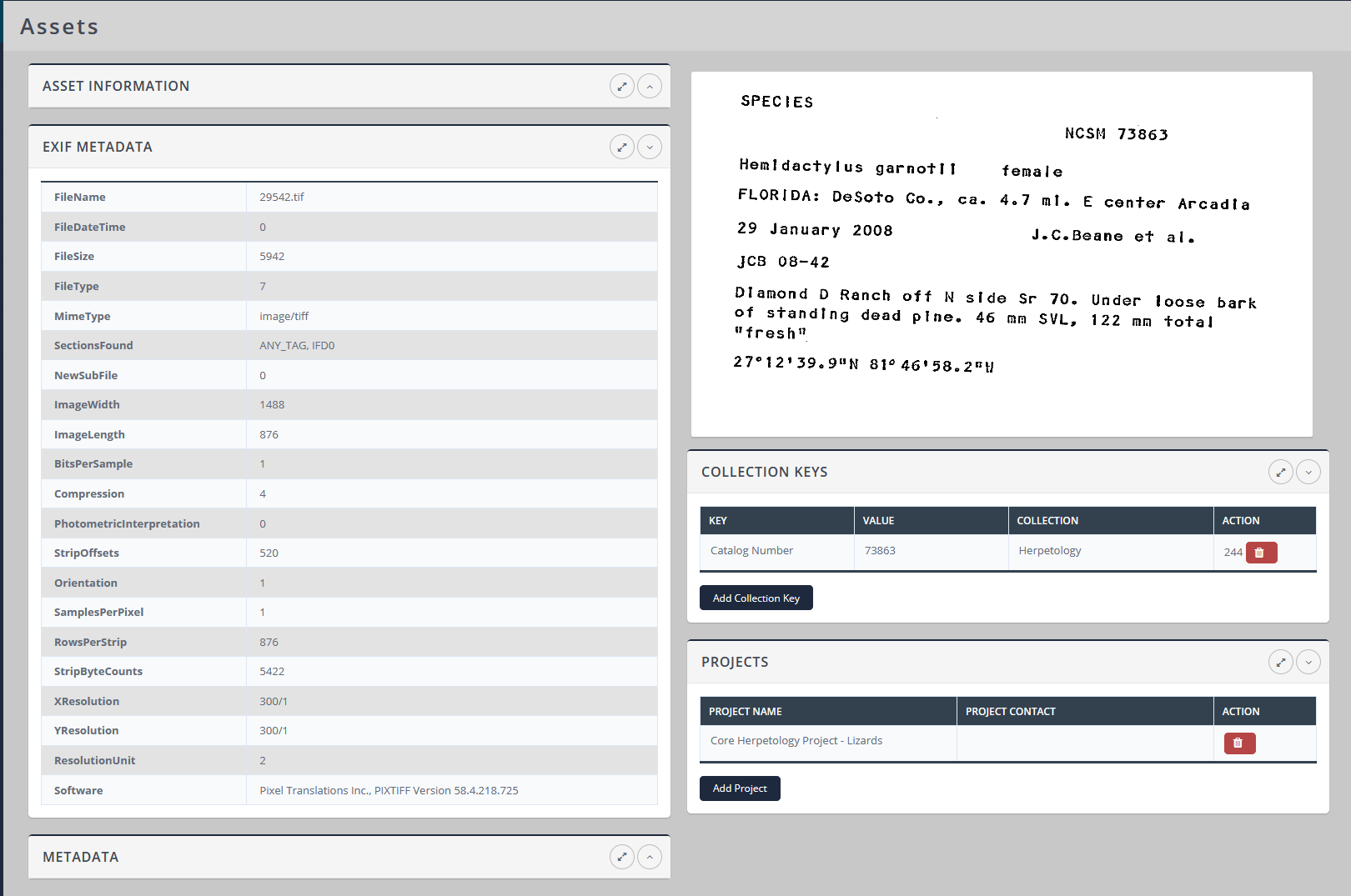 Asset EXIF Header Information View