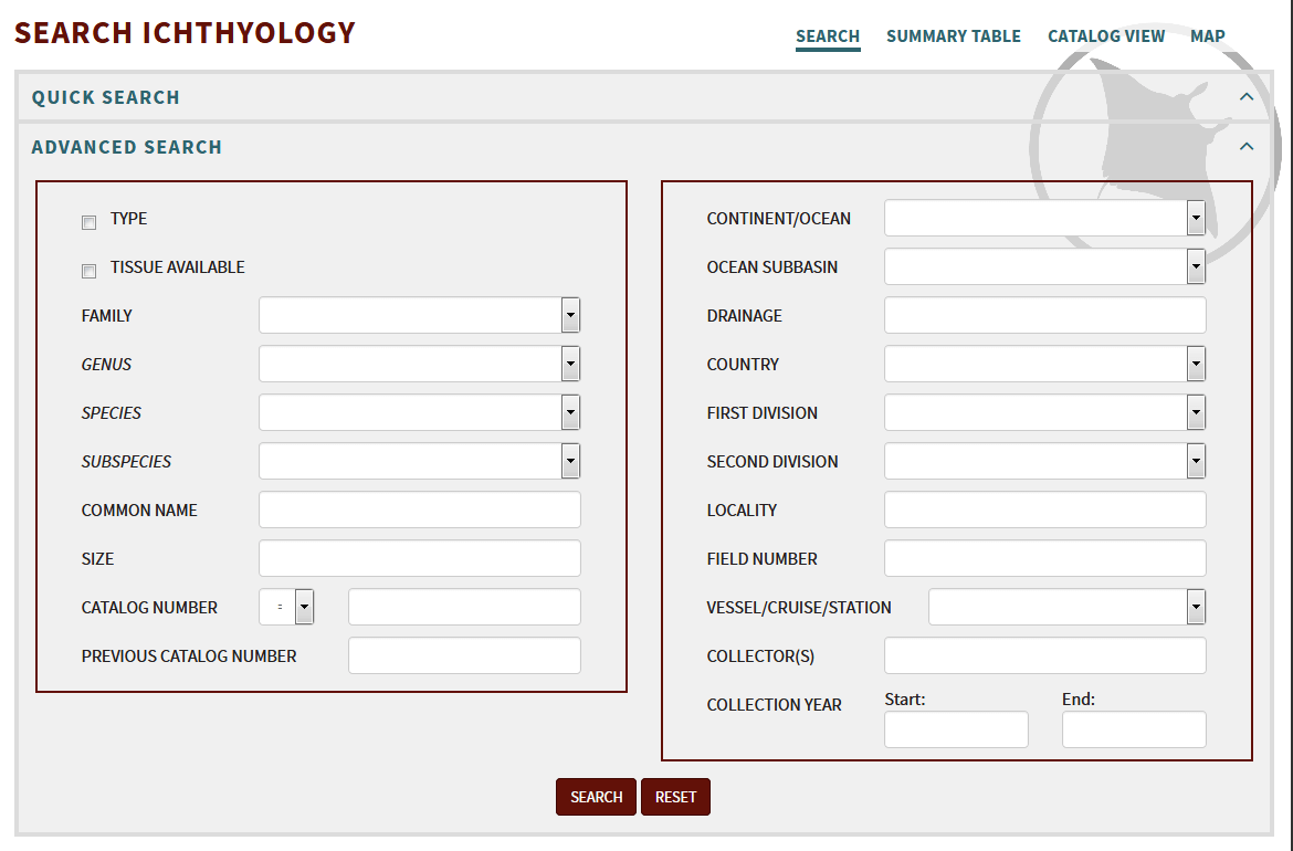 Search Ichthyology Form