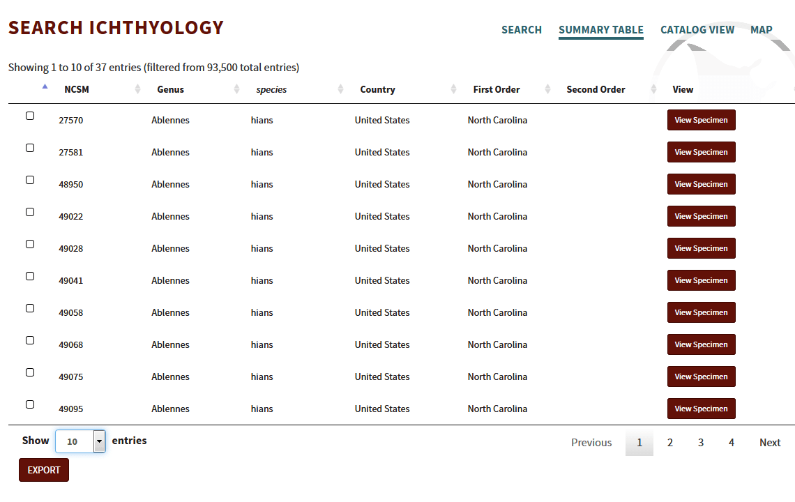 Search Ichthyology Results Summary View
