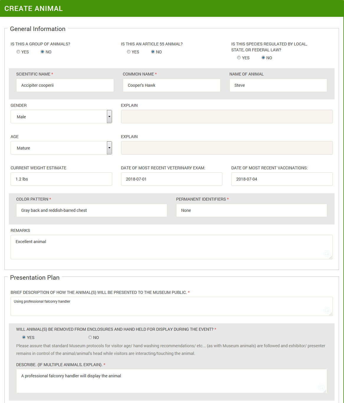 External Creature Request System Screenshot - Animal Form