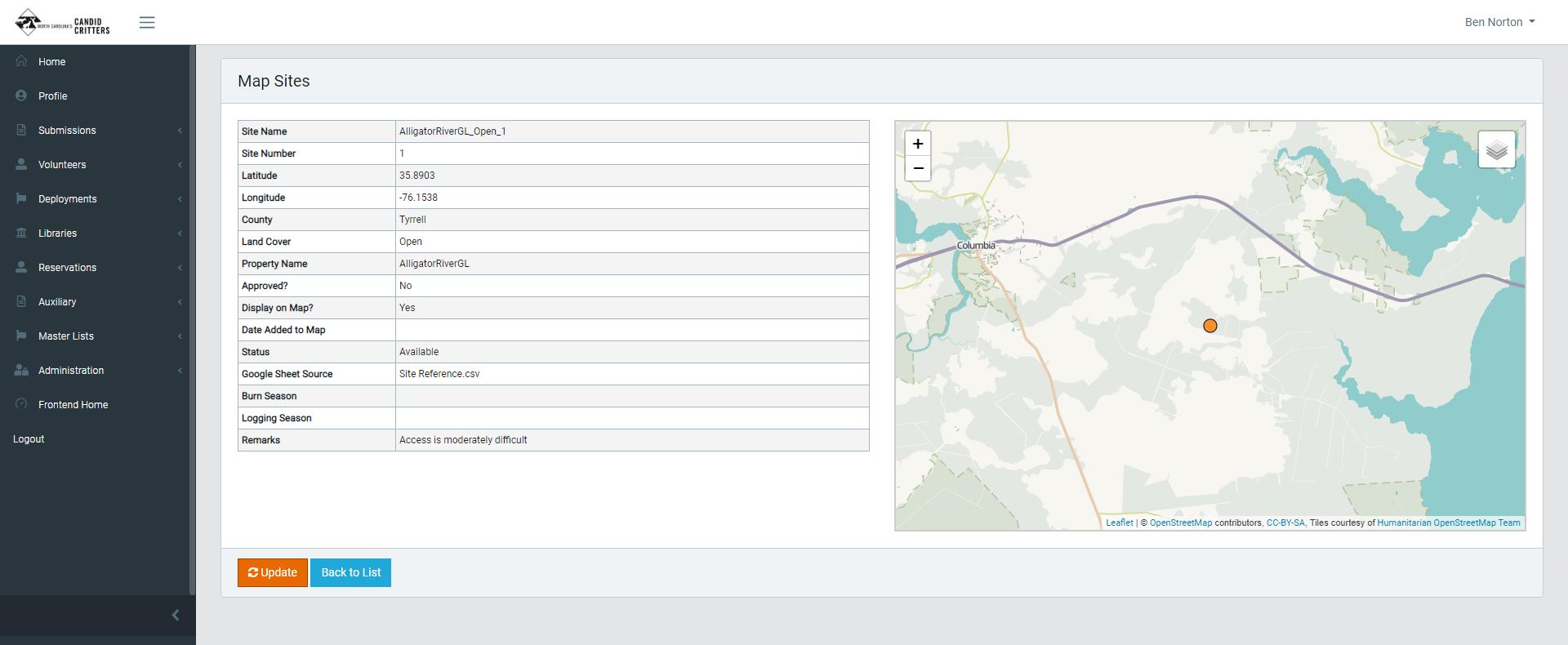 NC Candid Critter Data Manager Screenshot